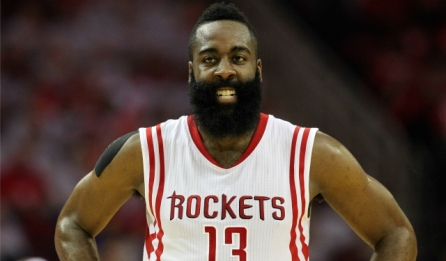 May 23, 2015; Houston, TX, USA; Houston Rockets guard James Harden (13) reacts during the first half against the Golden State Warriors in game three of the Western Conference Finals of the NBA Playoffs at Toyota Center. Mandatory Credit: Troy Taormina-USA TODAY Sports